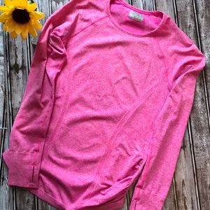 Athlete pink ruched long sleeve shirt